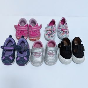 Lot of 5 pairs of shoes for baby toddler girl size
